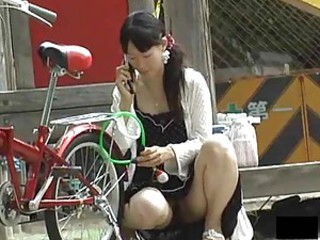 Asian girl upskirts outdoors are hot
