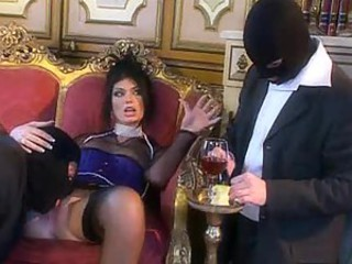 Ultra glamorous slut fucked by masked men