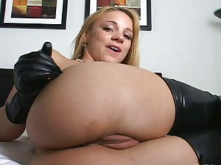 Kirra Lynne hot blonde on leather stockings