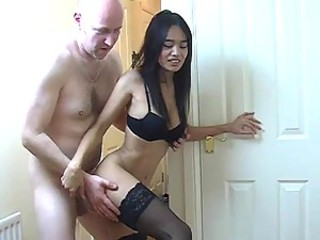 Sex in the passageway with an Asian hooker
