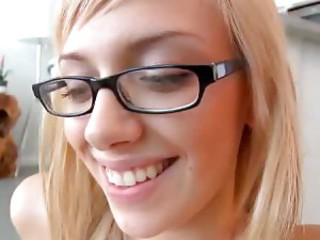Glasses blonde and her footjob