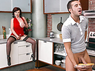 Keiran is over at his friends place playing video games. He's hungry so he goes in the kitchen and finds a warm apple pie. Keiran's also horny so he starts fucking the pie. Oddly enough his friend's m