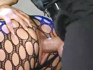 Girl in body stocking fucked from behind