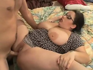 BBW Brunette gets Fucked and Takes Big Load of Sperm on her Tits