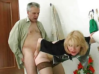 Lusty slut with unfold pussy fucked in bathroom