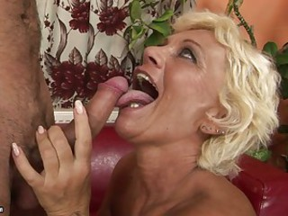 Horny grandma goes crazy hot with a man's throbbing cock