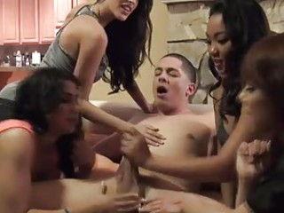 Naked guy gets sucked by cfnm babes at reversed gangbang