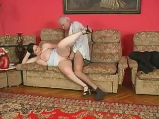 Grandpa and heavy chick have a fuck
