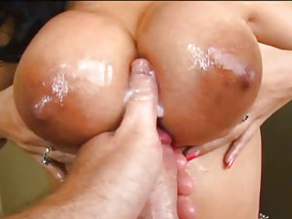 Lovely Busty Becky is creamed on her meaty bazoombas with fresh warm load