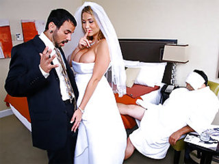 It was Alanahs wedding night and her husband passed out and would not wake up no matter what she tried. She was looking hot in that tight wedding dress with her huge tits nearly popping out. She calle