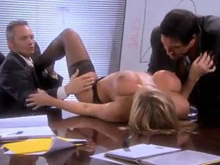Two guys fuck this super hot blonde pornstar