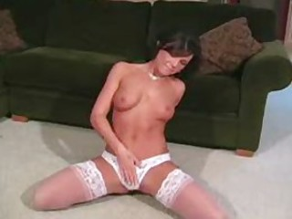 Cali Taylor in lacy bra and panties lace topped stockings