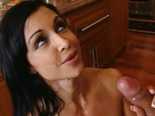 Cum loving momma Jewels receives a rich load of cock spurt on her mouth