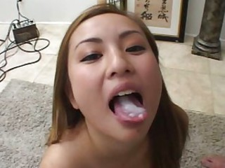 Luscious Tia Tanaka enjoys sucking on a  hard tap