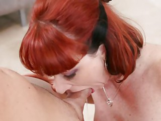 Kinky slut Kylie Ireland sliding a fat hard cock deep in her throat