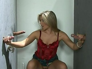 Blonde Cherry Jul Has Fun With Three Glory Hole Cocks