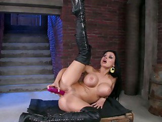 Aletta Ocean lusty babe lie on the big box dildoing