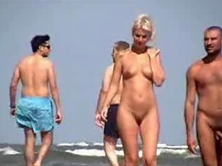 Nudist couple at beach