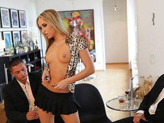 Aleksa, Lauro, and Zack were having a business meeting. Aleksa couldn't convince the boys so she decided to change tactiques and started undressing. She started sucking their stiff cocks which made Lauro and Zack just wanna fuck Aleksa in her juicy fresh