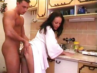 Good morning fuck in the kitchen