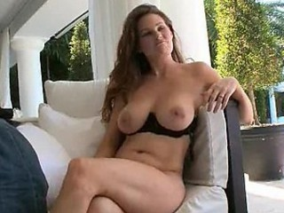 Horny Brunette MILF Loves Massaging her Big Breaking up with an increment of her Hot Booty