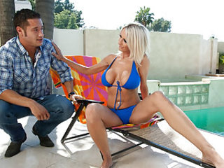 Danny comes into the backyard looking for his friend, but finds Miss Starr there relaxing by the pool. They engage in a bit of small talk about relationships and girlfriends. Danny is supposed to going on a double date with Miss Starr's son, but she has o