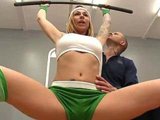 Busty Tattooed Blonde Scarlett Pain Getting Fucked By Her Trainer