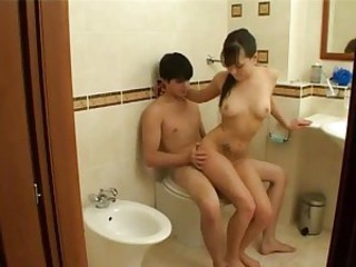 Bathroom cock riding fun