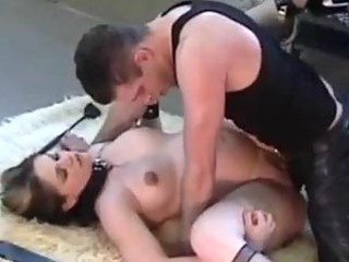 Pregnant girl in collar and leash fucked