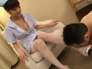 Hot Asian Nurse Giving a Sexy Footjob & Handjob