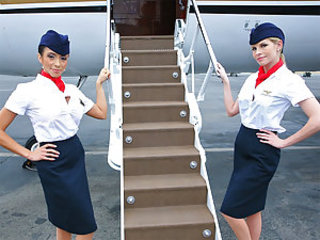 Mr. Bauterman was taking another long skip town on his private plane. The attendants were awaiting super hot in those tight skirts together with stockings. Mr. Bauterman enjoyed mistreating a difficulty shoved together with often haunting them. They finally got fed up with him together with decided