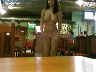 Walking around a restaurant totally naked