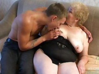 Mature fingered and fucked from behind in her fat pussy