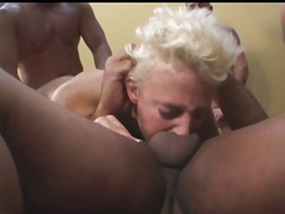 Sarah getting pounded by several cocks at once