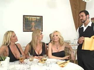 Three Blondes Have A Big Cock For Dinner