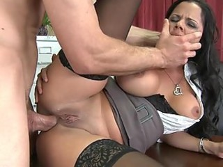 Rough Anal Sex For Brunette Writer Diamond Kitty In High Heels