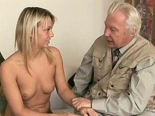 Kinky Blonde Gets Her Pussy Licked By Old Man Before DP Threesome