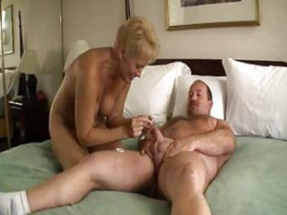 Chubby dude fucking blonde mature slut