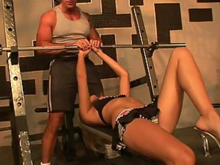 Perverted Blonde Babe Loves Her Trainer's Big Cock