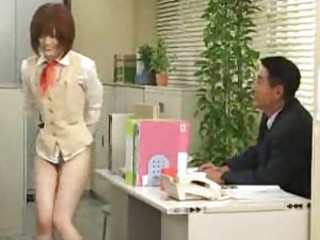 Cute Japanese office girl is bottomless