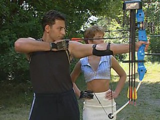 Archery Lesson Turns Into a Double Vaginal Penetration Threesome