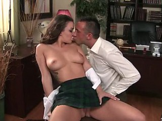 Naturally Busty School Girl Sophia Santi Gets Her Deep Throat Fucked