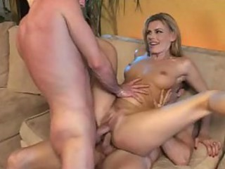 Blonde milf entertains two younger men