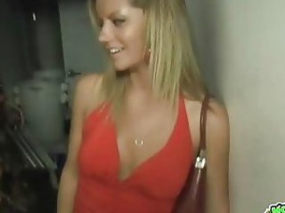 Hot blonde suck and fuck in club