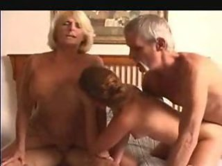 Granny and a young piece of baggage in a foursome