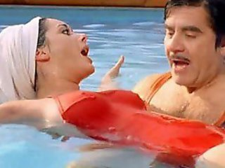Beautiful Brunette Babe Edwige Fenech Wearing Tight Red Swimming Suit
