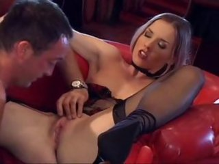 Slender babe in a strip club fucked by customer