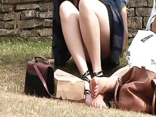 Amateur girl upskirt outdoors