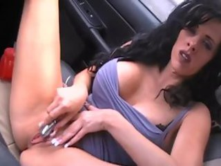 Masturbates with toy in moving car