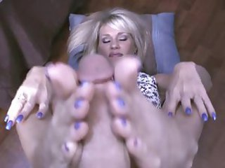 Lucky bastard cums on Nikki Ashton's blue toes